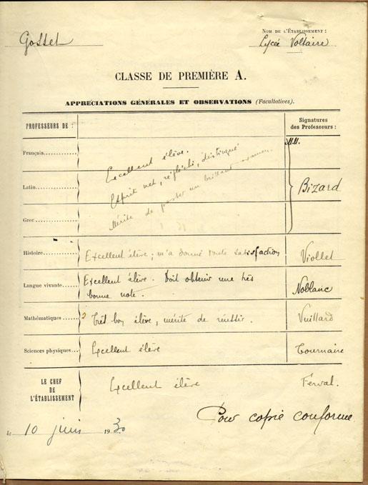 Livret scolaire 1930 Lycée Voltaire - Paris