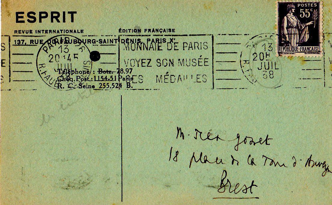 Carte d'Emmanuel Mounier à Jean Gosset - 13 juillet 1938 - 1
