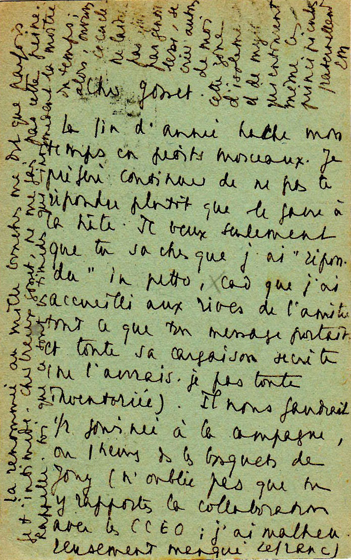 Carte d'Emmanuel Mounier à Jean Gosset - 13 juillet 1938 - 2