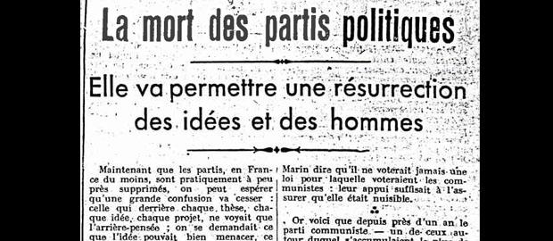 La mort des partis politiques - Septembre 1940